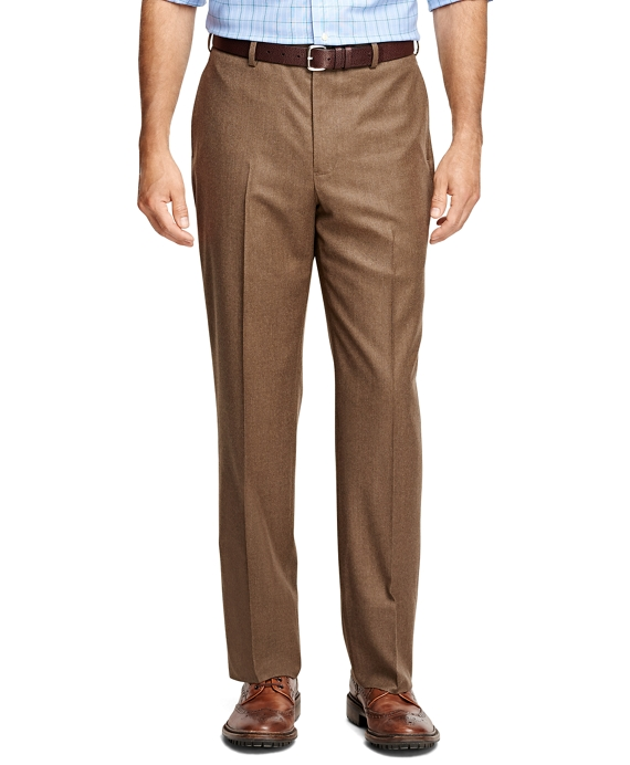 Madison Fit Plain-Front Flannel Trousers Birch