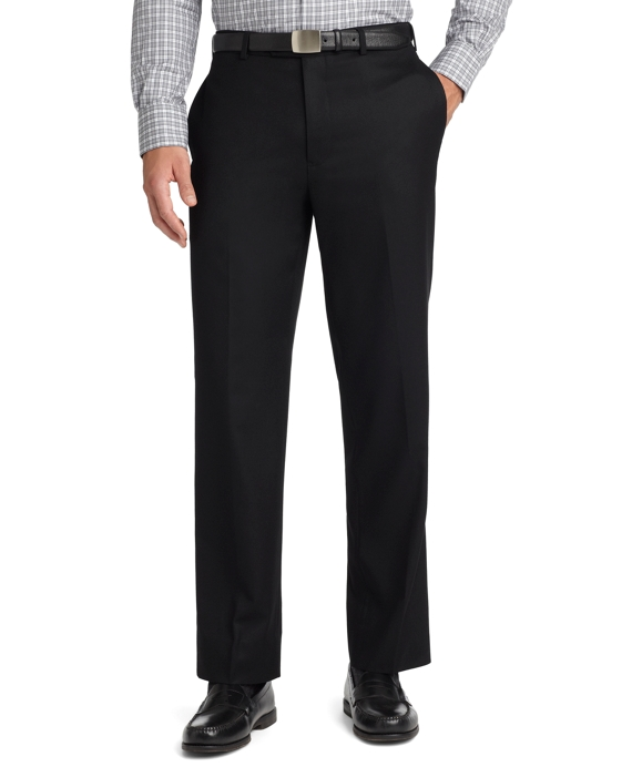 Madison Fit Plain-Front Flannel Trousers Black