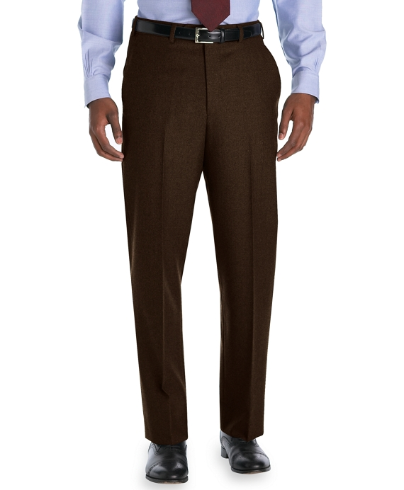 Madison Fit Plain-Front Flannel Trousers Chocolate