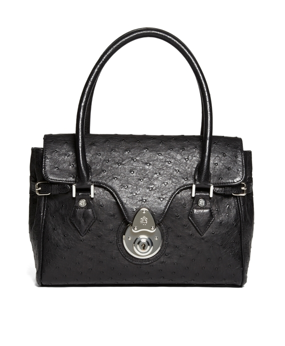Ostrich Quarter-Flap Handbag Black