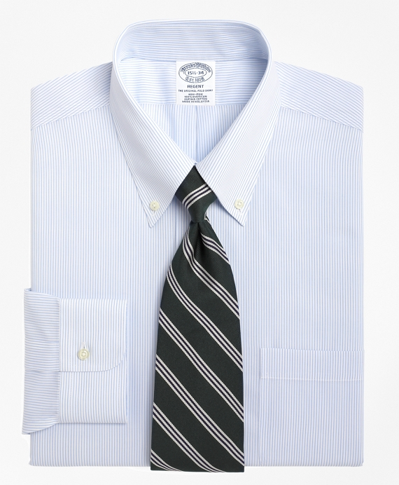 Non-Iron Slim Fit Mini Pinstripe Dress Shirt Light Blue