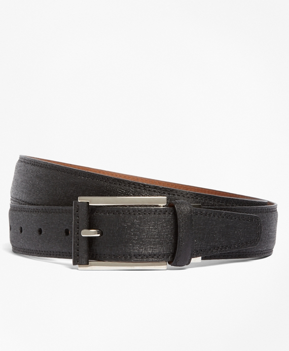 Saffiano Leather Dress Belt Black