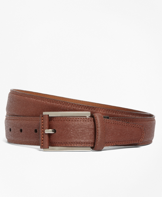 Saffiano Leather Dress Belt British Tan