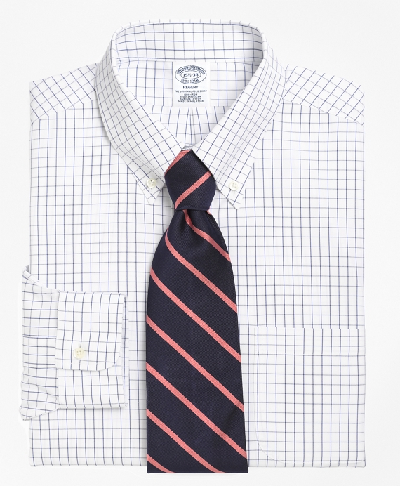 Non-Iron Slim Fit Windowpane Dress Shirt Blue