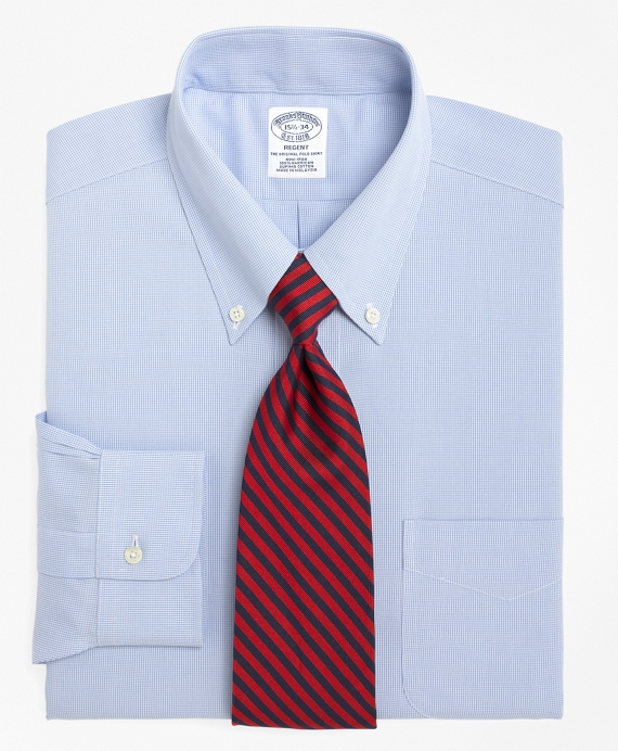 Non-Iron Regent Fit Houndstooth Dress Shirt Light Blue