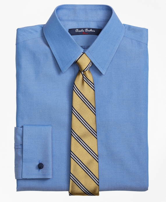 Non-Iron Supima® Pinpoint Cotton French Cuff Dress Shirt Blue