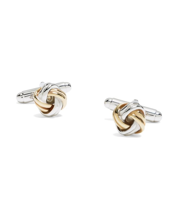 Gold-on-Silver Knot Cuff Links As Shown
