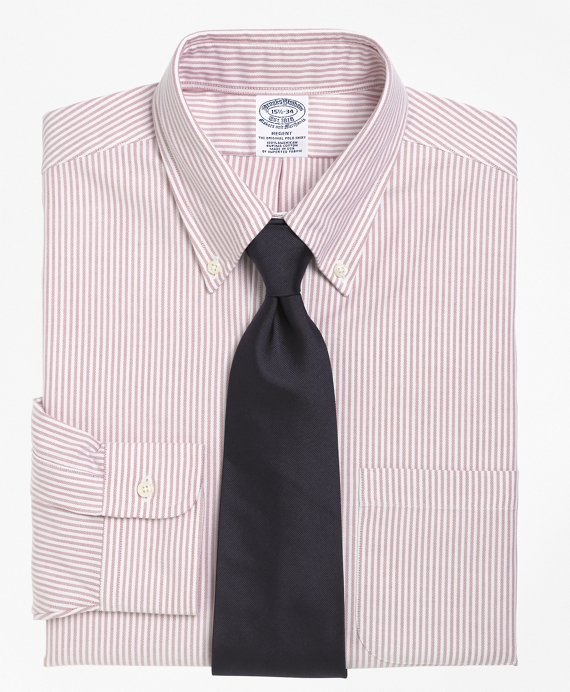 Regent Fit Stripe Dress Shirt Red