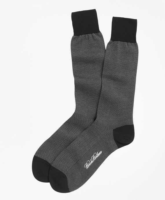 Cotton Bird's Eye Crew Socks Black