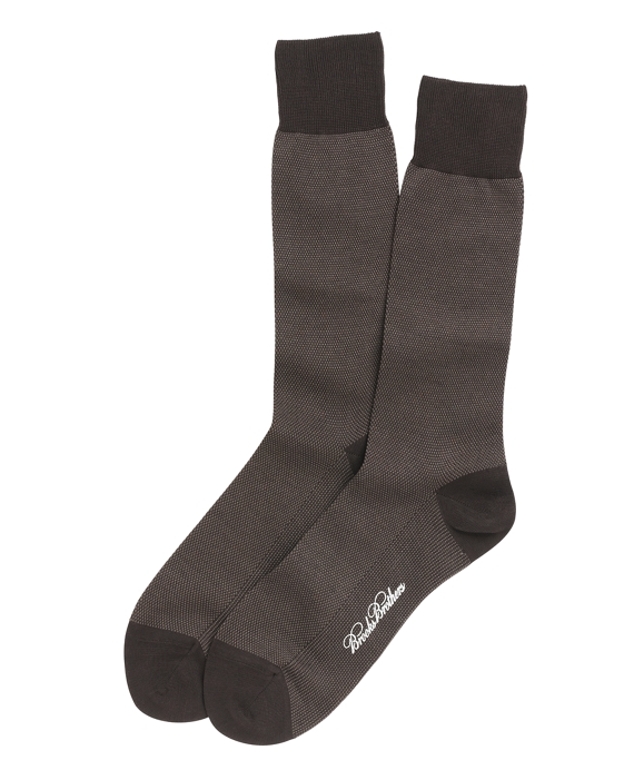 Cotton Bird's Eye Crew Socks Brown