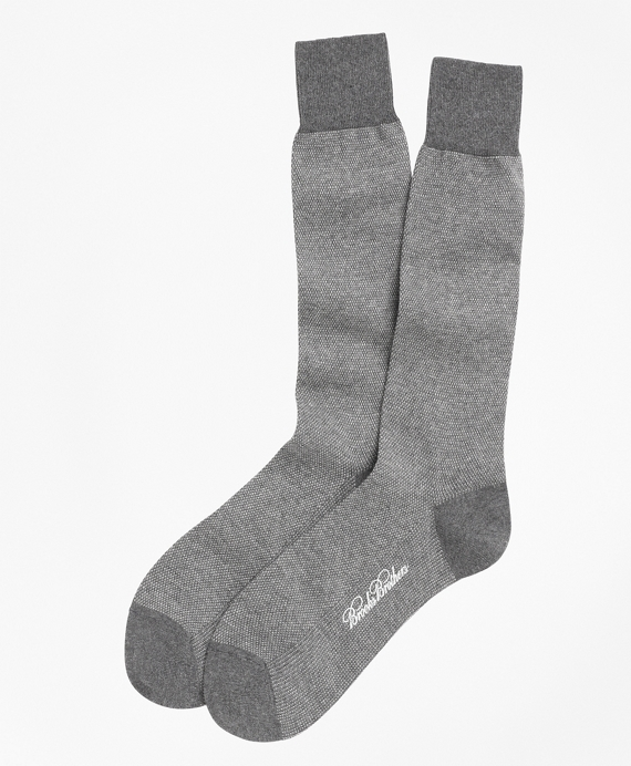 Cotton Bird's Eye Crew Socks Grey