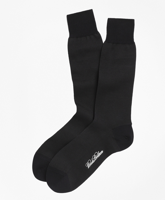 Cotton Bird's Eye Crew Socks Navy