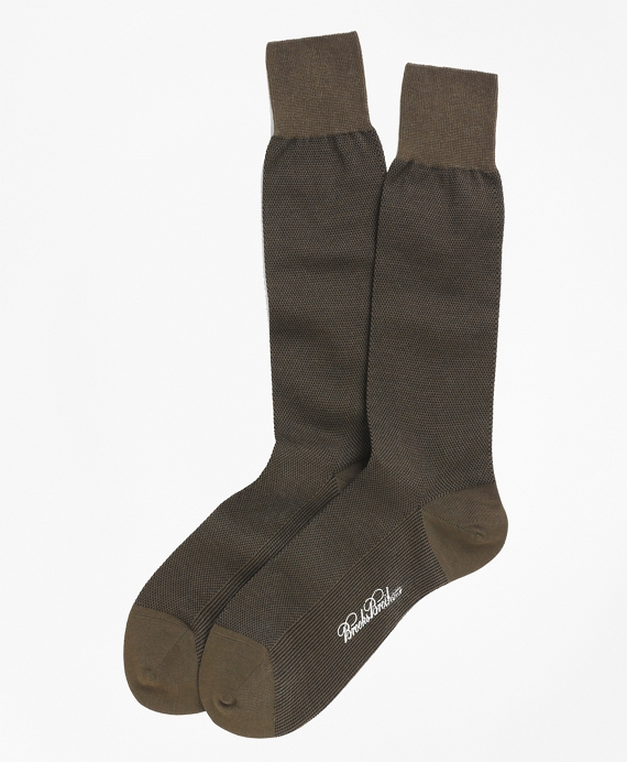 Cotton Bird's Eye Crew Socks Olive