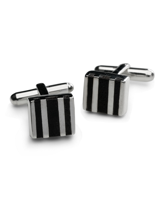 Sterling Silver with Wood Square Cuff Links As Shown