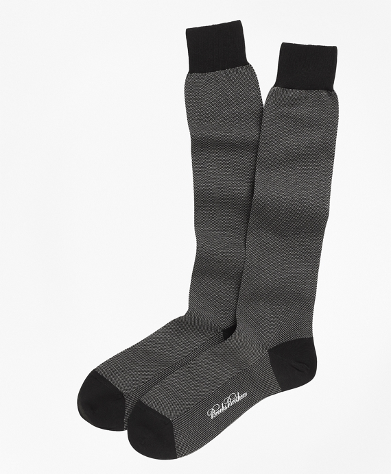 Cotton Bird's-Eye Over-the-Calf Socks Black