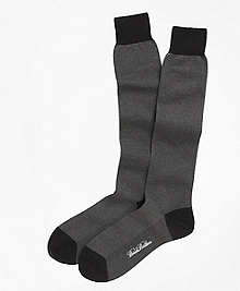 Cotton Bird's-Eye Over-the-Calf Socks