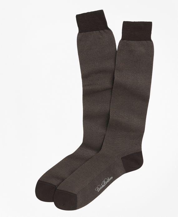 Cotton Bird's-Eye Over-the-Calf Socks Brown