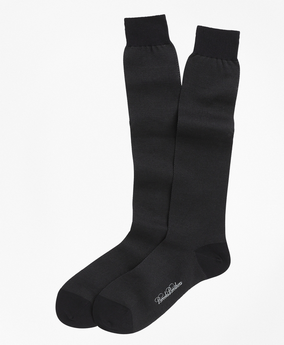 Cotton Bird's-Eye Over-the-Calf Socks Navy