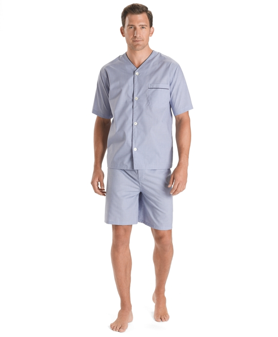 Wrinkle-Resistant Short Pajamas Blue
