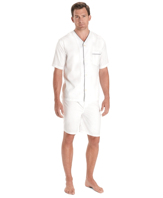 Wrinkle-Resistant Short Pajamas White