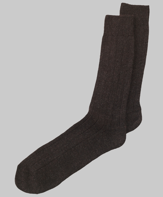 Cashmere Ribbed Crew Socks Brown