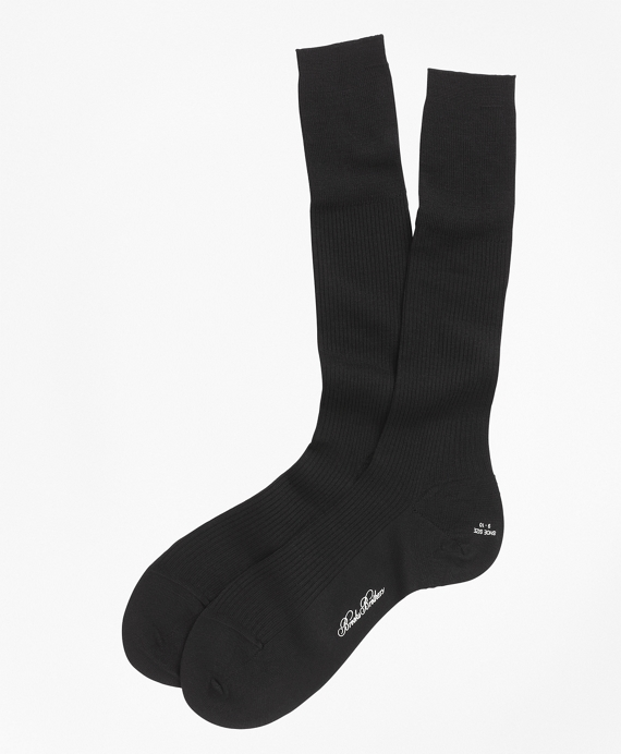 Merino Wool Garter Sized Over-the-Calf Socks Black