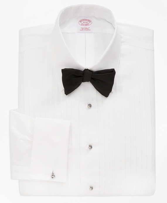 Traditional Fit Ten-Pleat Tennis Collar Tuxedo Shirt White