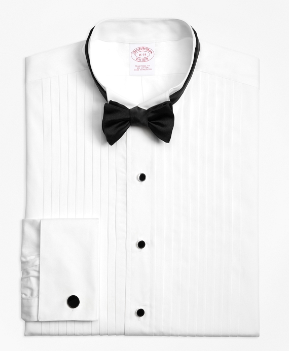 Traditional Fit Ten-Pleat Wing Collar Tuxedo Shirt