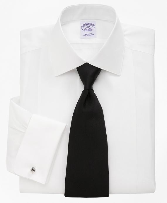 Bib-Front Spread Collar Tuxedo Shirt White