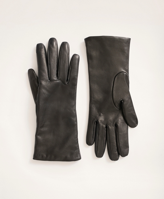 Cashmere Lined Leather Gloves Black