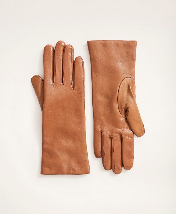 Cashmere Lined Leather Gloves British Tan