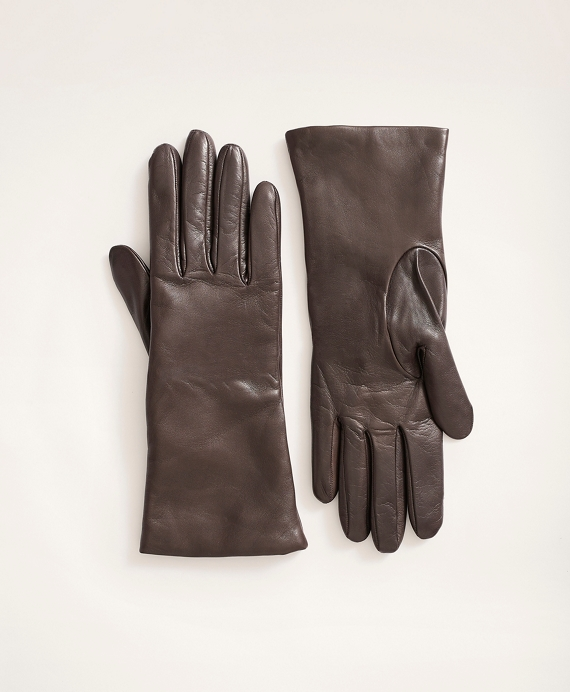 Cashmere Lined Leather Gloves Brown