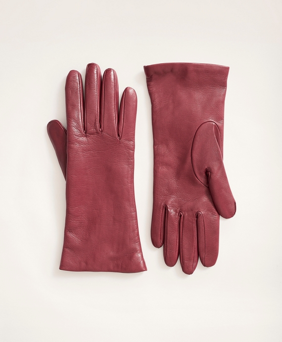 Cashmere Lined Leather Gloves Dark Red