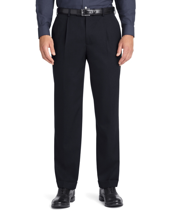 Regent Fit Pleat-Front Classic Gabardine Trousers Black