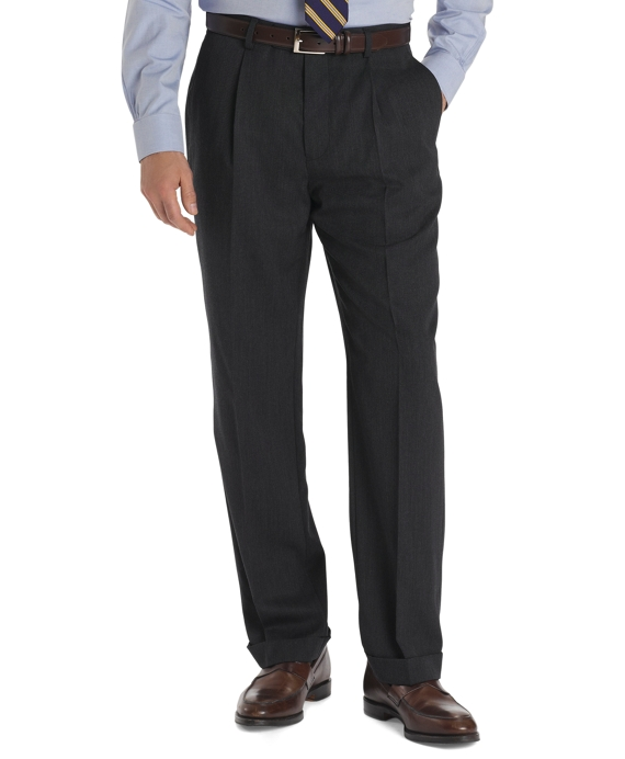 Regent Fit Pleat-Front Classic Gabardine Trousers Charcoal