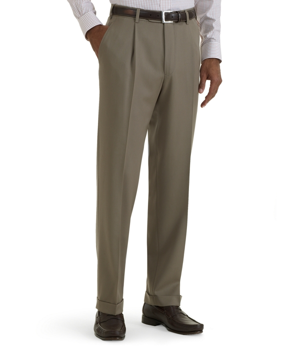 Regent Fit Pleat-Front Classic Gabardine Trousers Light Tan