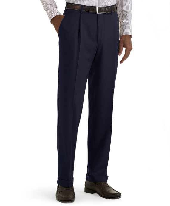 Regent Fit Pleat-Front Classic Gabardine Trousers Navy