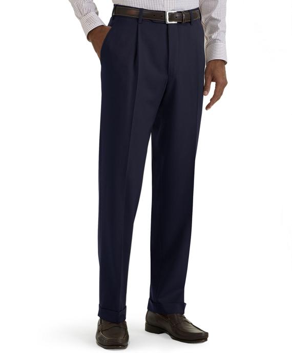 Regent Fit Pleat-Front Classic Gabardine Trousers Navy