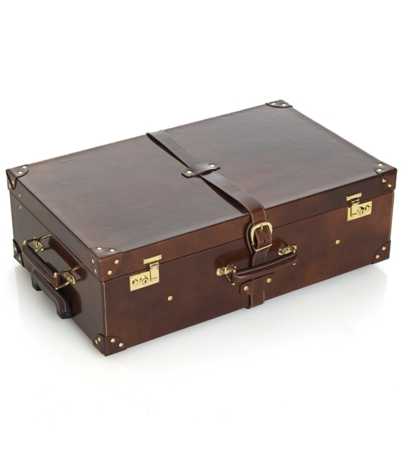 High Shine Spazzolato Leather Medium Suitcase w/wheels Brown