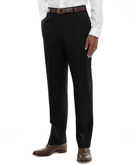 Regent Fit Plain-Front Classic Gabardine Trousers Black