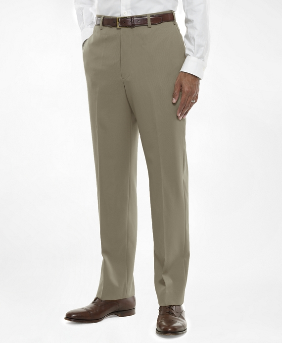 Regent Fit Plain-Front Classic Gabardine Trousers British Tan