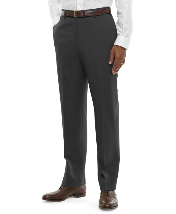 Regent Fit Plain-Front Classic Gabardine Trousers Charcoal