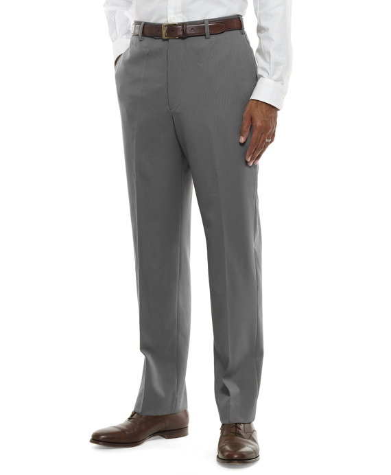 Regent Fit Plain-Front Classic Gabardine Trousers Light Grey