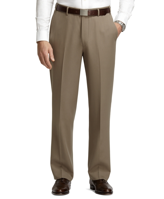 Regent Fit Plain-Front Classic Gabardine Trousers Light Tan
