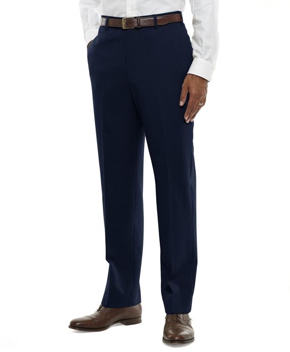 Regent Fit Plain-Front Classic Gabardine Trousers Navy