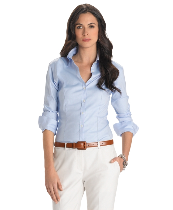 Petite Non-Iron Fitted Stretch Shirt Blue