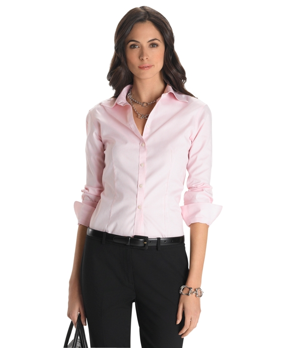 Petite Non-Iron Fitted Stretch Shirt Pink