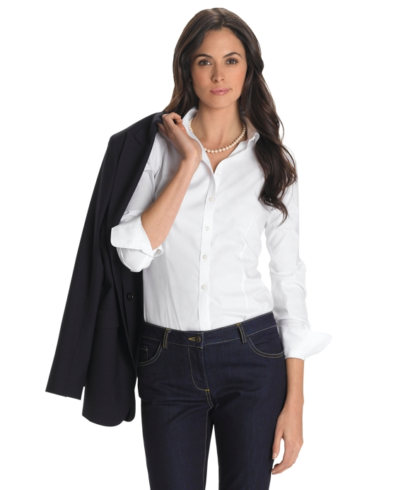 Petite Non-Iron Fitted Stretch Shirt White