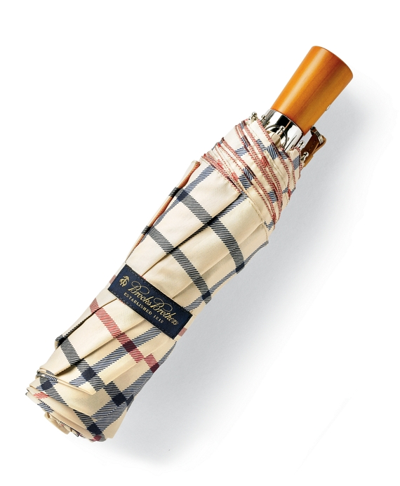 Brooks Brothers Plaid Mini Umbrella Camel