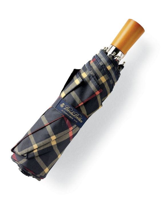Brooks Brothers Plaid Mini Umbrella Navy